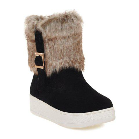 Cheap Buckle Faux Fur Platform Snow Boots BLACK 37