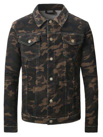 Fancy Turn-Down Collar Camouflage Pattern Double Pocket Denim Jecket