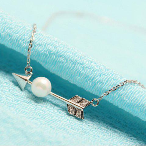 Fashion Rhinestone Faux Pearl Arrow Pendant Necklace