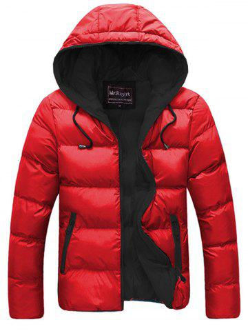 Online Contrast Zipper Drawstring Hooded Quilted Jacket