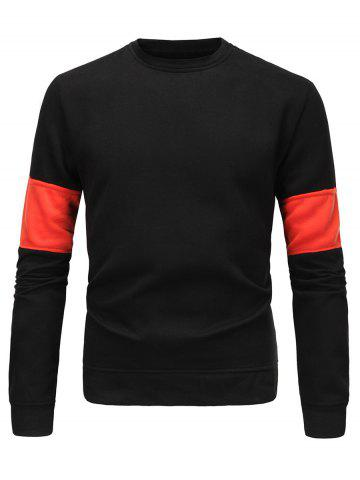 Shop Flocking Color Block Spliced Long Sleeve Sweatshirt BLACK 3XL