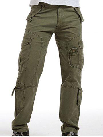 Zip Fly Pockets Military Army Cargo Pants - GRASS GREEN 38
