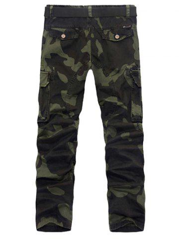 Unique Zipper Fly Plus Size Pockets Embellished Camo Cargo Pants ARMY GREEN 38