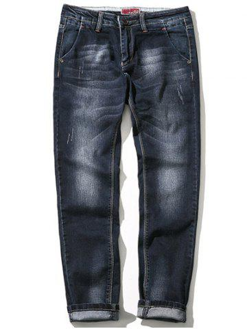 New Zipper Fly Plus Size Bleach Wash Straight Leg Jeans
