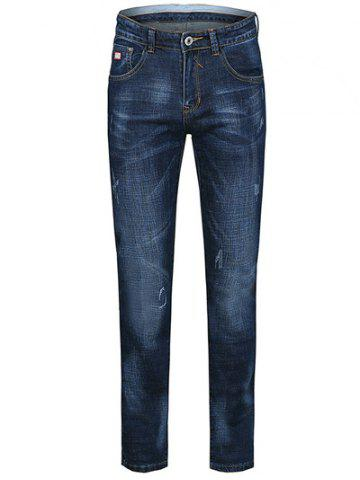 Jeans jambe droite conception Whiskergrande taille  Zip Chat Bleu 38