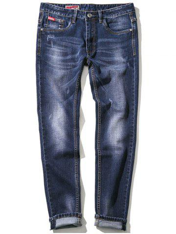 Trendy Zipper Fly Plus Size Bleach Wash Embroidery Straight Leg Jeans BLUE 48