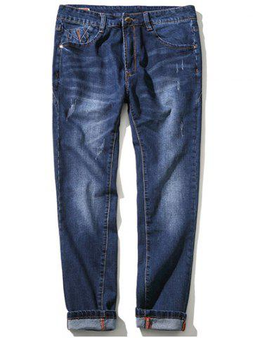 Zipper Fly Plus Size Simple Cat's Whisker Straight Leg Jeans - BLUE 48