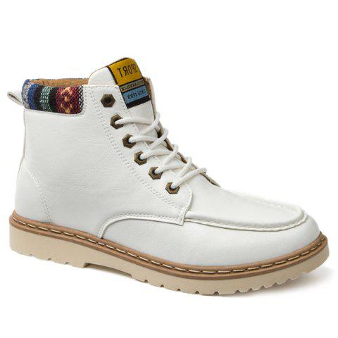 Lace-Up Eyelets PU Leather Work Boots