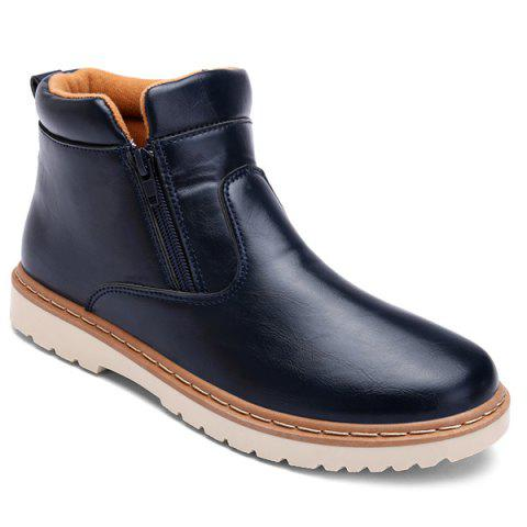 Double Zips PU Leather Ankle Boots