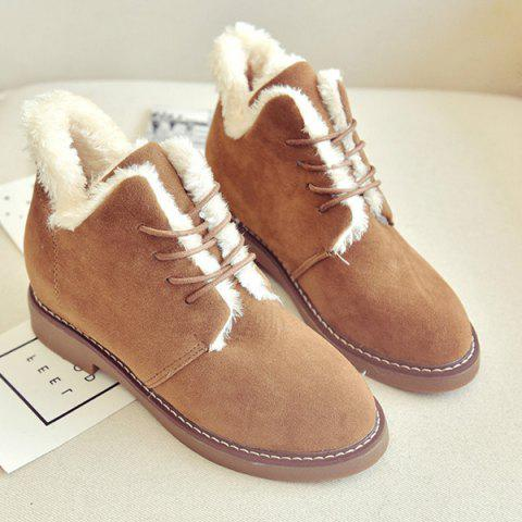 Outfits Flock Flat Heel Lace-Up Snow Boots