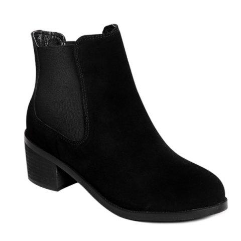Online Elastic Band Spliced Chunky Heel Suede Boots