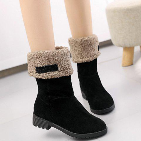 Fashion Low Heel Fold Down Mid-Calf Boots