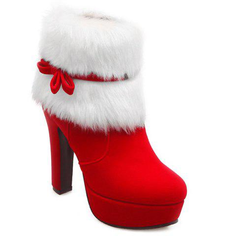Bowknot Platform Fuzzy Chunky Heel Boots - Red - 37