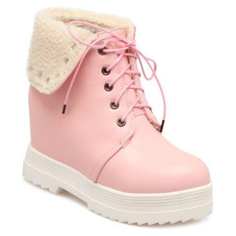 Lace-Up Faux Shearling Hidden Wedge Boots - Pink - 39