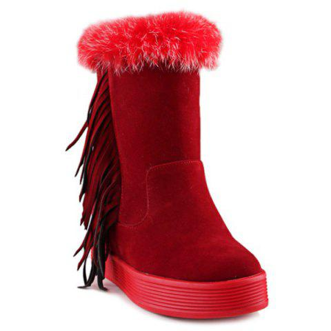 Latest Platform Faux Fur Fringe Boots RED 38