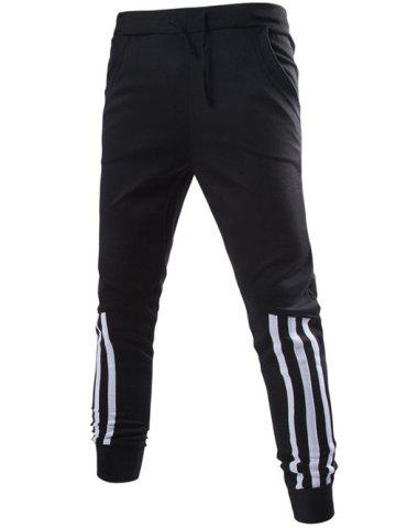 Best Stripe Spliced Beam Feet Jogger Pants BLACK 2XL