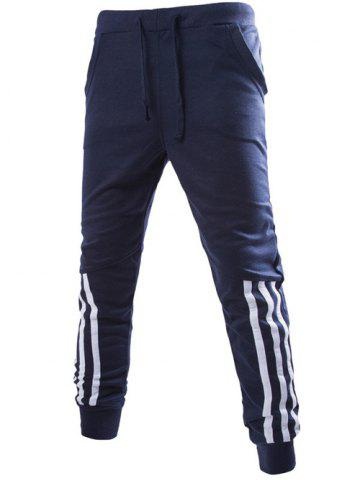 Best Stripe Spliced Beam Feet Jogger Pants - M CADETBLUE Mobile