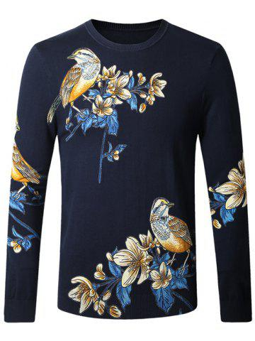 Fashion Bird Floral Print Pullover Sweater
