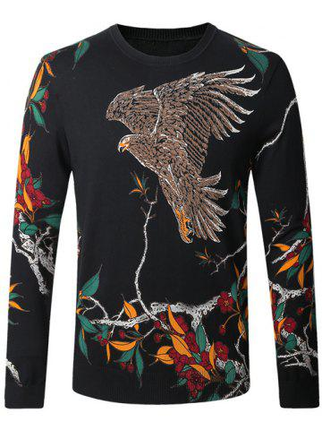 New Eagle Floral Print Pullover Sweater BLACK 4XL