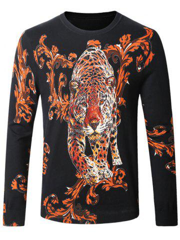 Latest Leopard Ancient Flower Print Pullover Sweater BLACK 4XL
