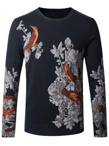 Latest Birds Floral Print Pullover Sweater