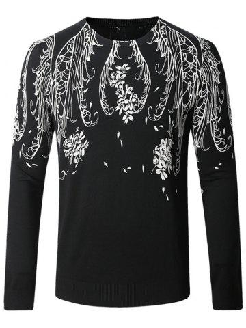 Online Floral Print Long Sleeve Pullover Sweater BLACK 4XL