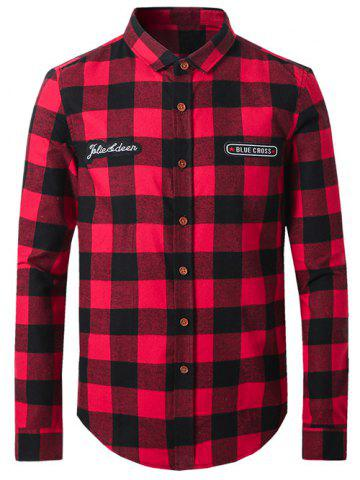 Sale Plus Size Plaid Letters Label Long Sleeve Shirt RED 5XL
