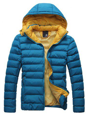 Discount Detachable Hooded Zip-Up Thicken Padded Jacket BLUE 3XL