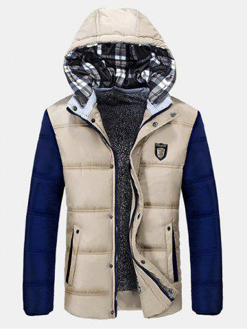 Shop Zip-Up Contrast Sleeve Hooded Quilted Jacket OFF-WHITE L
