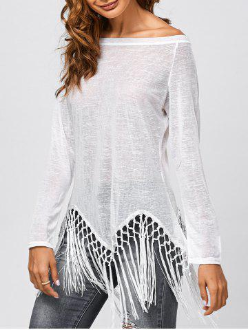Chic Fringed Jewel Neck Cover Up