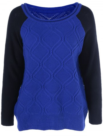 Trendy Cable Color Block Pullover Sweater BLUE ONE SIZE