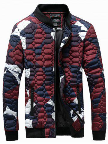 Outfits Zip-Up Printed Geometric Pattern Quilted Jacket RED 3XL