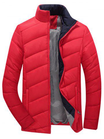 Chic Stand Collar Zipper-Up Quilted Jacket RED 5XL