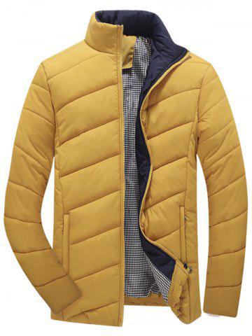 Online Zip Up Plaid Lining Padded Jacket - L YELLOW Mobile