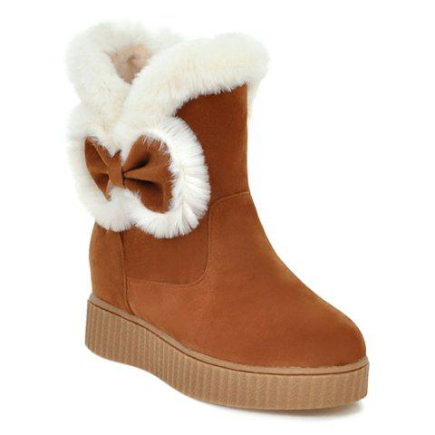 Best Faux Fur Bowknot Increased Internal Snow Boots BROWN 39