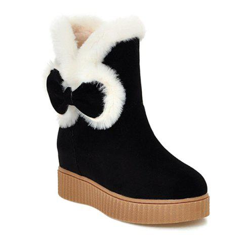 Faux Fur Bowknot Increased Internal Snow Boots - Black - 38