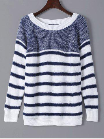Discount Striped Color Splicing Sweater