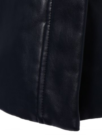 Buy Faux Fur Collar Plus Size PU Leather Coat - L BLACK Mobile