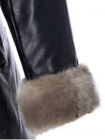 Store Faux Fur Collar Plus Size PU Leather Coat - L BLACK Mobile