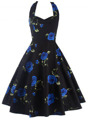Hot Halter Floral A Line Cocktail Skater Dress BLUE 2XL