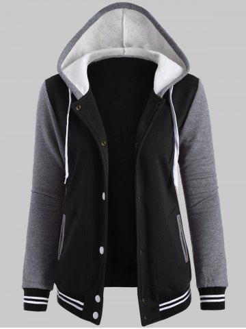 Plus Size Fleece Baseball Jacket with Hood - Black - 2xl