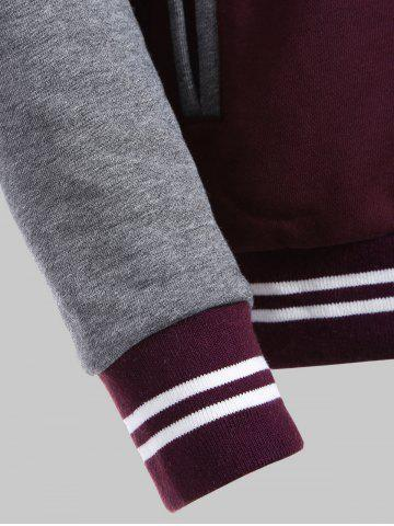 Online Plus Size Fleece Baseball Jacket with Hood - 2XL WINE RED Mobile