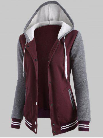 Fancy Plus Size Fleece Baseball Jacket with Hood - 2XL WINE RED Mobile