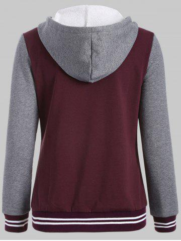 Trendy Plus Size Fleece Baseball Jacket with Hood - 2XL WINE RED Mobile
