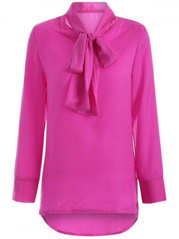 Trendy High Collar Pussy Bow Blouse