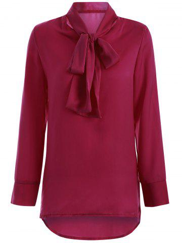 Buy High Collar Pussy Bow Blouse - Wine Red S