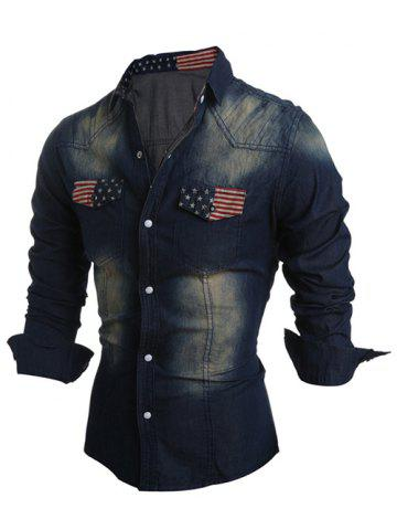 Pockets Front American Flag Denim Long Sleeve Shirt - PURPLISH BLUE 2XL