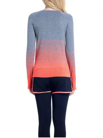 Outfit Running Ombre Yoga Long Sleeve Gym Top - L ORANGE Mobile