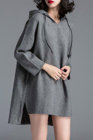 Hot Hooded Side Slit Knitted Dress