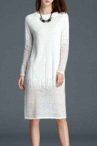 See Through Knee Length Knitted Dress - White - S